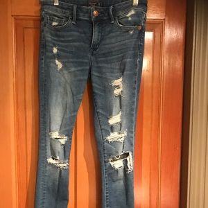 A&F super skinny distressed jeans